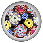 Colorful Retro Circular Pattern Wall Clocks (Silver)  Front