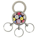 Colorful Retro Circular Pattern 3-Ring Key Chains