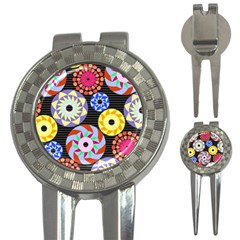 Colorful Retro Circular Pattern 3 In 1 Golf Divots by DanaeStudio