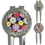 Colorful Retro Circular Pattern 3-in-1 Golf Divots