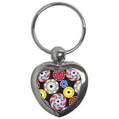 Colorful Retro Circular Pattern Key Chains (heart)  by DanaeStudio