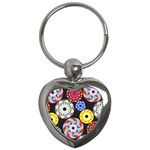 Colorful Retro Circular Pattern Key Chains (Heart)
