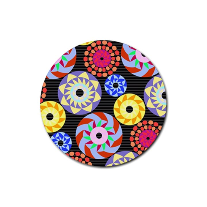 Colorful Retro Circular Pattern Rubber Round Coaster (4 pack)