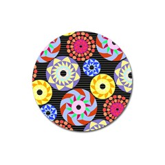 Colorful Retro Circular Pattern Magnet 3  (round) by DanaeStudio