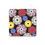 Colorful Retro Circular Pattern Square Magnet Front