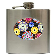 Colorful Retro Circular Pattern Hip Flask (6 Oz) by DanaeStudio