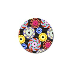 Colorful Retro Circular Pattern Golf Ball Marker by DanaeStudio