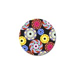 Colorful Retro Circular Pattern Golf Ball Marker (4 pack)