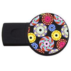 Colorful Retro Circular Pattern Usb Flash Drive Round (2 Gb)  by DanaeStudio
