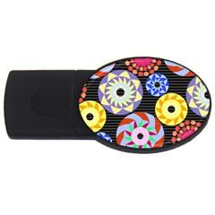 Colorful Retro Circular Pattern Usb Flash Drive Oval (2 Gb)  by DanaeStudio
