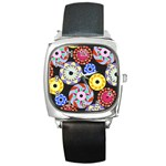 Colorful Retro Circular Pattern Square Metal Watch