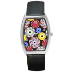 Colorful Retro Circular Pattern Barrel Style Metal Watch