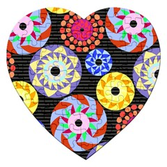 Colorful Retro Circular Pattern Jigsaw Puzzle (heart) by DanaeStudio