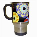 Colorful Retro Circular Pattern Travel Mugs (White)