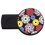 Colorful Retro Circular Pattern USB Flash Drive Round (4 GB)  Front