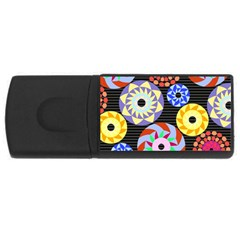 Colorful Retro Circular Pattern Usb Flash Drive Rectangular (4 Gb)  by DanaeStudio