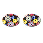 Colorful Retro Circular Pattern Cufflinks (Oval)