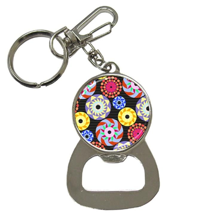 Colorful Retro Circular Pattern Bottle Opener Key Chains