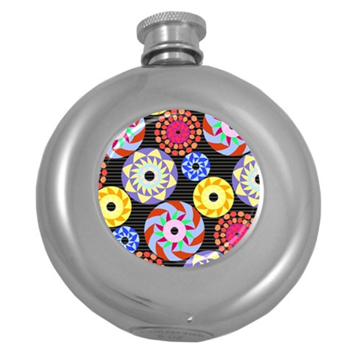 Colorful Retro Circular Pattern Round Hip Flask (5 oz)
