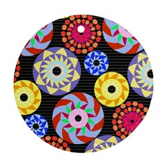 Colorful Retro Circular Pattern Round Ornament (two Sides)  by DanaeStudio