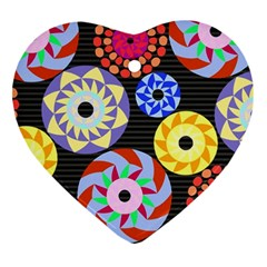 Colorful Retro Circular Pattern Heart Ornament (2 Sides)