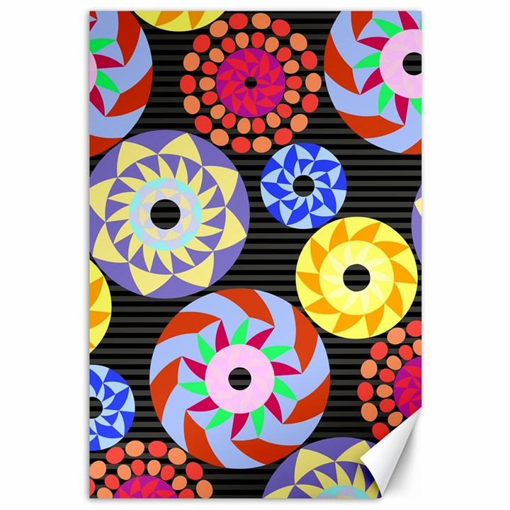 Colorful Retro Circular Pattern Canvas 12  x 18