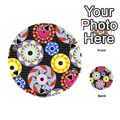 Colorful Retro Circular Pattern Playing Cards 54 (round)  by DanaeStudio