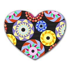 Colorful Retro Circular Pattern Heart Mousepads