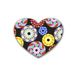 Colorful Retro Circular Pattern Heart Coaster (4 pack)  Front