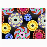 Colorful Retro Circular Pattern Large Glasses Cloth (2-Side)