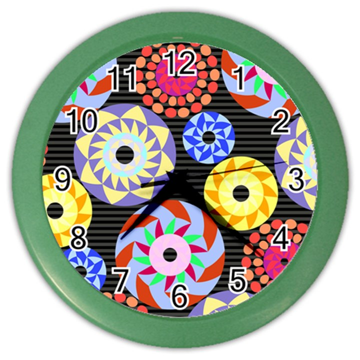 Colorful Retro Circular Pattern Color Wall Clocks