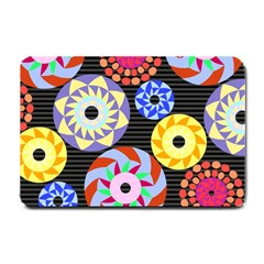 Colorful Retro Circular Pattern Small Doormat  by DanaeStudio