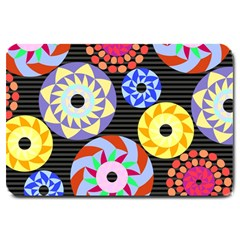 Colorful Retro Circular Pattern Large Doormat  by DanaeStudio