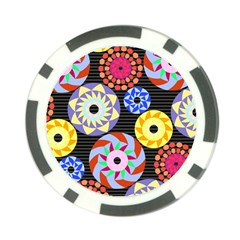 Colorful Retro Circular Pattern Poker Chip Card Guards by DanaeStudio
