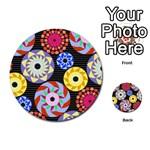 Colorful Retro Circular Pattern Multi-purpose Cards (Round)  Back 17