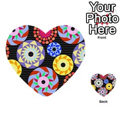 Colorful Retro Circular Pattern Multi Purpose Cards (heart)  by DanaeStudio