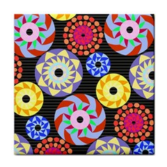 Colorful Retro Circular Pattern Face Towel by DanaeStudio