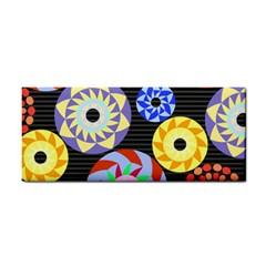 Colorful Retro Circular Pattern Hand Towel by DanaeStudio