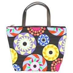 Colorful Retro Circular Pattern Bucket Bags