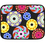 Colorful Retro Circular Pattern Fleece Blanket (Mini) 35 x27 Blanket