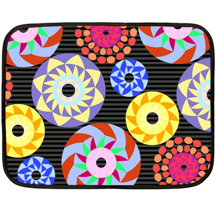 Colorful Retro Circular Pattern Fleece Blanket (Mini)