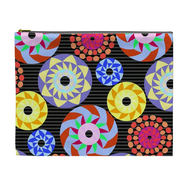 Colorful Retro Circular Pattern Cosmetic Bag (XL)