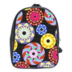 Colorful Retro Circular Pattern School Bags(large)  by DanaeStudio