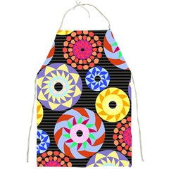 Colorful Retro Circular Pattern Full Print Aprons by DanaeStudio