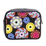 Colorful Retro Circular Pattern Mini Toiletries Bag 2-Side Back