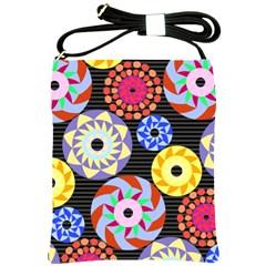 Colorful Retro Circular Pattern Shoulder Sling Bags