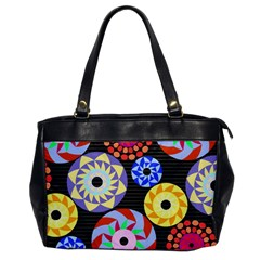 Colorful Retro Circular Pattern Office Handbags by DanaeStudio