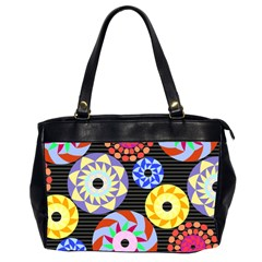 Colorful Retro Circular Pattern Office Handbags (2 Sides)  by DanaeStudio