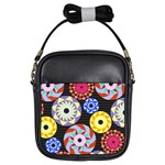 Colorful Retro Circular Pattern Girls Sling Bags