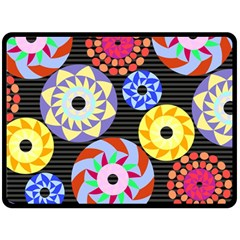 Colorful Retro Circular Pattern Fleece Blanket (large)  by DanaeStudio